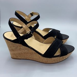 Naturalizer Zia Black Suede Ankle Strap Cork Wedge
